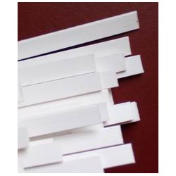 White plastic binding 1.5 x 6 x 1600 mm